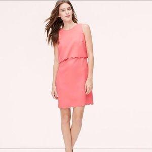 The Loft Scalloped Illusion Dress Pink